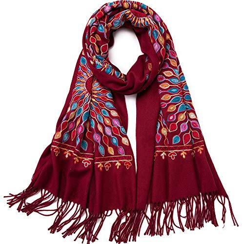 Bestickter Schal mit Blumen, Kaschmir-Schal, weiche Ponchos, Pashmina-Umhang, Übergröße, 180,3 x 66 cm - Rot - Groß