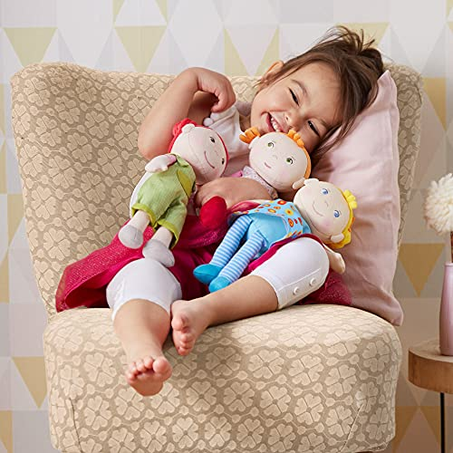 HABA Snug Up Roya - 10' Soft Doll with Fuzzy Red Pigtails, Embroidered Face and Removable Pink Dress (Machine Washable) for Ages 18 Months +