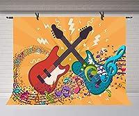 HDカラフルな音楽ノートの背景7x5ftロック音楽写真の背景の少年少女の芸術的な肖像画のパーティー写真スタジオの小道具の壁紙LHFU263