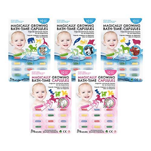 Cuculo Magische Kapseln für die Badewanne, Vorteilspack 4 + 1 frei, 60 farbige Kapseln, die in warmem Wasser zu verschiedenen Formen Werden, Badewannen-Aufkleber, Badespielzeug für Badespaß