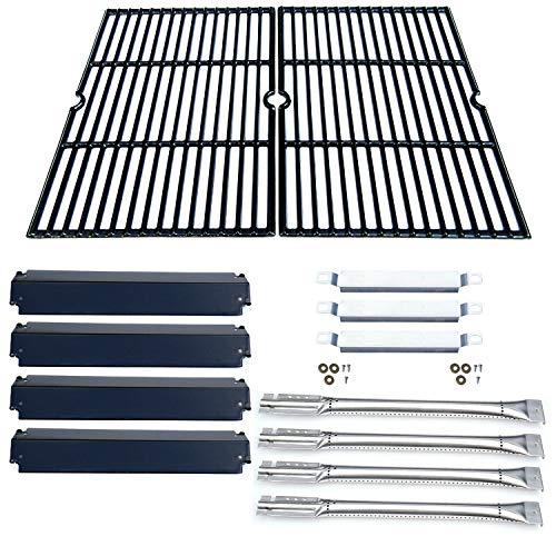 Direct store Parts Kit DG166 Replacement Charbroil Commercial Gas Grill 463268606,463268007 Repair Kit (SS Burner + SS carry-over tubes + Porcelain Steel Heat Plate + Porcelain Cast Iron Cooking Grid) Alert and garden Grates Grids High lawn Rate Return