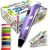 Proxoom. Bolígrafo 3d para niños. Lápiz 3d con pantalla lcd, ajuste de velocidad, compatible con filamento pla y abs. Pen 3d. Incluido 15 rollos filamento.