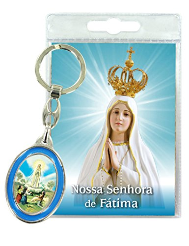 Ferrari & Arrighetti Llavero Virgen de Fátima con oración en portoghese (Paquete de 3 Piezas)