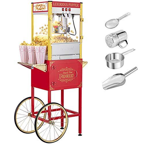 ROVSUN Popcorn Machine w/ Cart & Wheels, 8 Ounce Kettle Popcorn Maker w/ Double Doors, Popcorn...