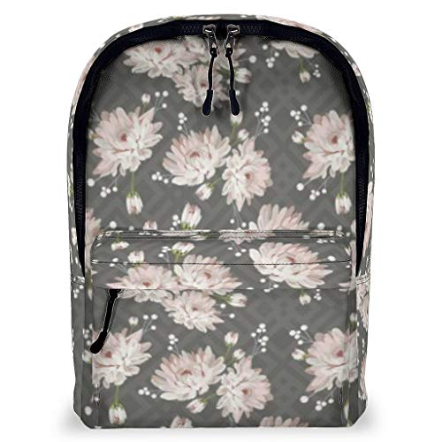 TengmiuXin plant flowers Graphics Novelty Casual Laptop Backpack Travel Backpacks Bookbag Water Resistant Fits 16 Inch Laptop for Men & Women Flowers white 43x32x16cm