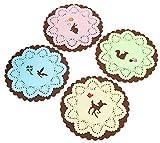 EKEA-Home®; Gel de sílice (4 Piezas) Color Candy Animal Hueco Aislamiento Pad Creative Cup Mat Mantel Individual Diámetro: 10 cm