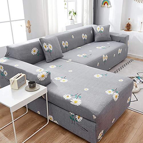 AGGF Funda para sofá en Forma de L, esquinero, seccional, Chaise Longue, 2, 3, 4 plazas con una Funda de Almohada Fundas reclinables Ideales para Mascotas y niños
