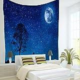 Brandless Tapiz de Lobo Lunar Fase Lunar Cielo Estrellado Animal Salvaje Colgante de Pared Decoración del hogar Tapiz de Pared del Dormitorio (150x130cm)
