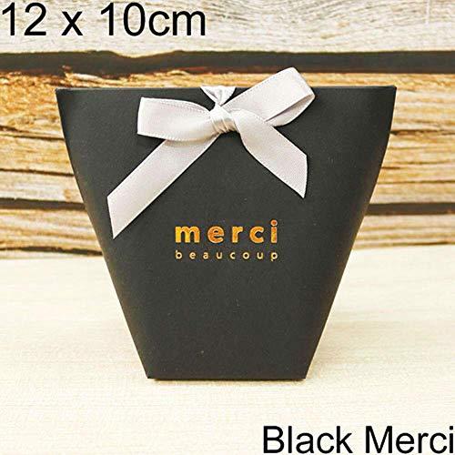 Xinger 5 stks zwart wit bronzing candy bag frans dank u trouwbedankjes geschenkdoos pakket verjaardagsfeestje gunst tassen, 12x10 cm merci