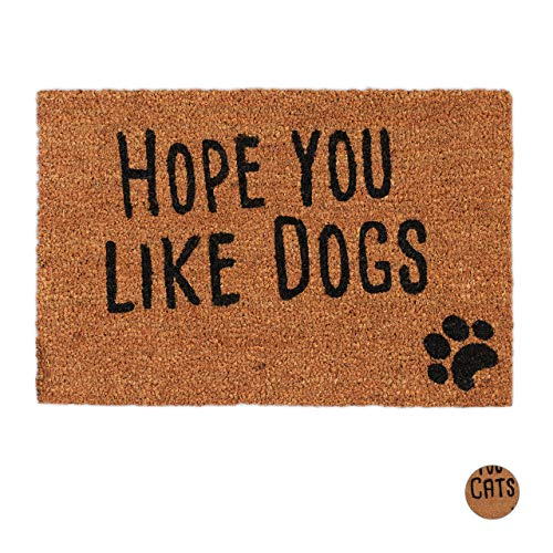 Relaxdays Hope You Like Dogs Zerbino con Scritta, Fibre di Cocco, Marrone, 1.5 X 60 X 40 Cm