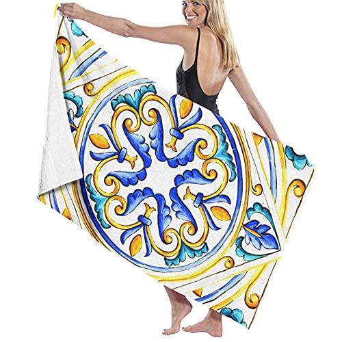 Toallas de baño suaves de mayólica italiana con diseño floral vintage para baño/playa/camping para mujeres, hombres, niñas y niños, 80 x 130 cm