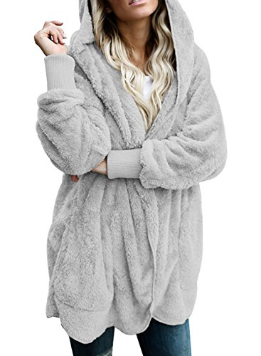Dokotoo Womens Cozy Female Casual Oversized Fuzzy Fluffy Sherpa Winter Faux Fur Open Front Long Sleeve Fleece Hoodies Cardigan Sweater Jacket Coat Outwear Grey Medium