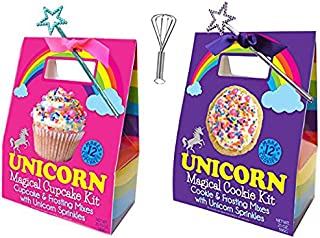 Unicorn Magical Cupcake and Cookie Frosting Mix and Sprinkles with Star Wand and a Whisk Carry Out Box Set