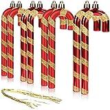 com-four® 8X Colgante de árbol de Navidad bastón de Caramelo - Decoraciones de árbol de Navidad para Colgar - Bola de Navidad en Forma de bastón de Caramelo (Rojo - 8 Piezas)