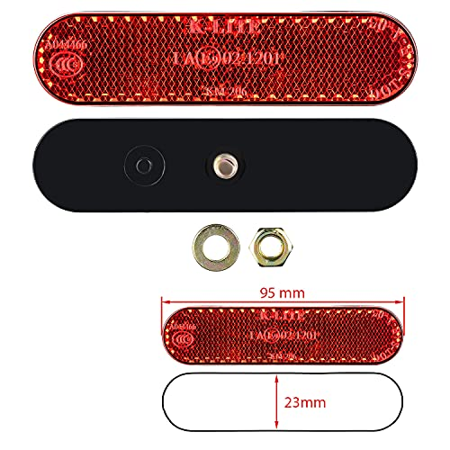 1 x Motorrad Mini Reflektor Kennzeichenhalter Rückstrahler mit Zulassung Katzenauge 95x23mm