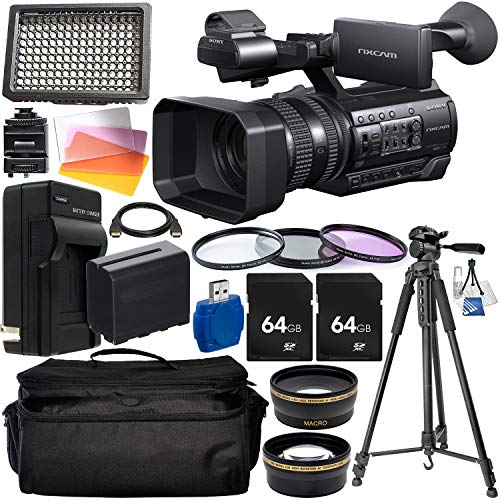 """Sony HXR-NX100 Full HD NXCAM Camcorder with Starter Accessory Bundle – Includes: 2X 64GB SD Memory Cards + Camcorder Carrying Case + 3PC Filter Set + 160 LED Video Light + 75"""" Tripod + More -  Panasonic, SNYHXRNX100SAB1"""