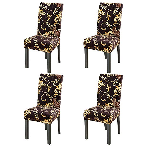 YIMEIS Comfort Stretch Dining Room Chair Covers, Four Seasons Dining Chair Protector, Removable Washable Short Dining Chair Seat Covers for Dining Room, Kitchen, Party (Pack of 4, F_Golden Years)