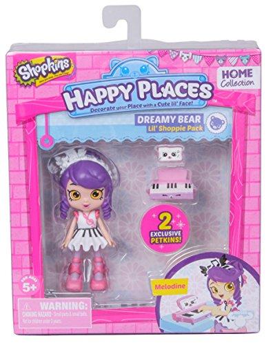 Shopkins – Happy Places – Dreamy Bear – Melodine – Set 2 Mini Figurines Petkins + 1 Mini Poupée