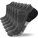 coskefy Sneaker Socken Herren/Damen Baumwollesocken Atmungsaktiv Sport Gepolsterte Lauf /Knöchel/Outdoor Söckchen, 6 Paar ,Dunkelgrau-2(6 Paare), 43-47