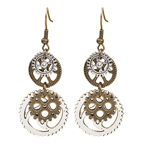 "Material: Alloy Features: Long, Dangle, Gear Pendant, Hook Earrings The fantastic jewelry you are longing for. Great for club, party, Christmas, dance, etc. Length: 5cm/1.97"" (Approx.) Package Includes: 1 Pair of Earrings"