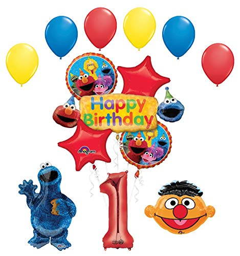 Cookie Monster and Ernie 1st Birthday Party Supplies and Balloon Bouquet Decorations