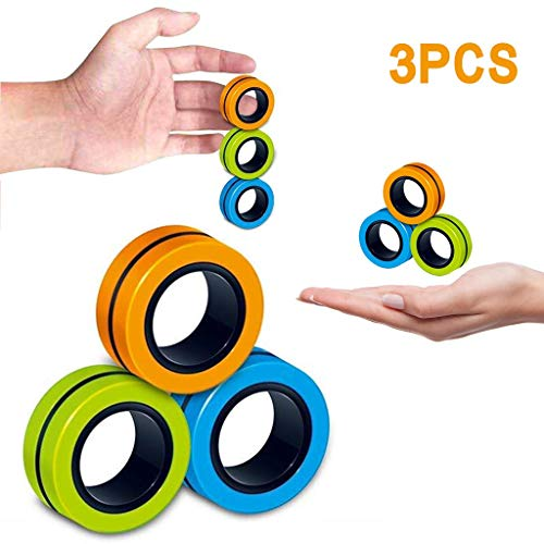 3PCS Stress Relief Magnetic Roller Fingertips Rings for Kids Adults - Anxiety Magic Tricks Educational Game for ADD, ADHD - Best EDC (A set)