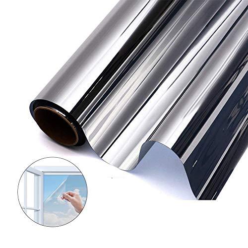 GodUp Sonnenschutzfolie Fenster Fensterfolie Selbsthaftend Spiegelfolie UV-Schutz Sichtschutzfolie Silber (40x200 cm)