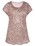 PrettyGuide Women's Sequin Blouse Loose Fit Flashy Party Tops Dolman Sleeve Rose Gold XXL/US22