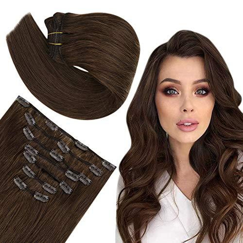 Easyouth Remy Clip Sur les Extensions de Cheveux Couleur Middle Brown Clip in Natural Hair Extensions Real Hair 12pouces 30cm 70g 7Pcs par Paquet