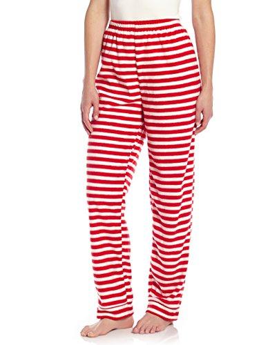 Leveret Women Fleece Sleep Pants Red & White Striped Small