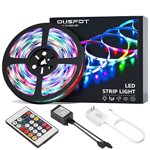OUSFOT LED Strip 5M LED Streifen Band 150 RGB mit Fernbedienung Farbwechsel statischer & dynamischer Modus 5050 Selbstklebend Wasserdicht IP65