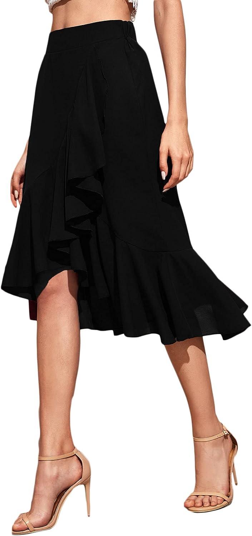 Romwe Women's Elegant High Waist Zip Side Wrap Ruffle Hem Midi Skirt