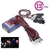 Dilwe 12 LED de RC Voiture, système d'éclairage kit LED Flash pour Tamiya 1/10 1/8 RC Voiture / Camion