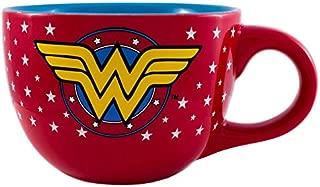 Silver Buffalo WO0324 DC Comics Wonder Woman All Over Stars Logo Ceramic Soup Mug, 24 oz, Multicolor
