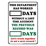 Weatherproof Plastic Dry Erase Days Without A Lost Time Accident Sign, with English