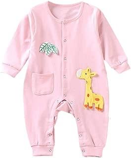 Fairy-Baby Toddler Boys Autumn Romper One-Piece Bodysuit with Adorable Cartoon Giraffe Style Printing Design Crew-Neck Cotton Onesie (Color : Pink, Size : 73CM)