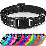 Joytale Reflective Dog Collar,Padded Breathable Soft Neoprene Nylon Pet Collar Adjustable for Small Dogs,S,Black