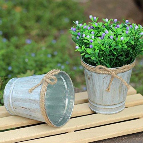 fer à repasser Fût Pot de fleurs, Hunpta vintage en métal Fût fer Pot de fleur à suspendre balcon Jardin Pot de fleurs Plante Décor Pot de fleurs multicolore