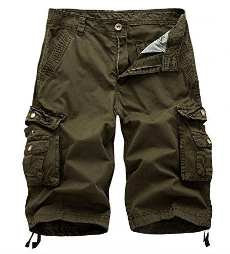 WSLCN Homme Coton Pantacourt de Travail Cargo Shorts Pantacourt Outdoor Vintage Bermudas Shorts Couleur Divers, A - vert,taille 42(Asie 34)