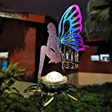 LeiDrail Rain Gauge Outdoor Solar Powered Garden Metal Stake Decorative Fairy LED Lights 5...