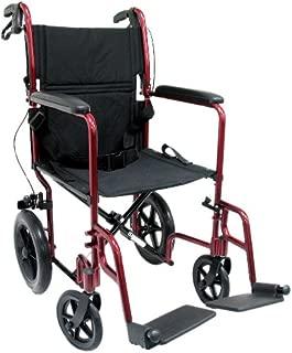 Karman Healthcare LT-1000HB-BD Folding Aluminum Transport Chair with Companion Brakes, Burgundy, 19-Inch Seat Width