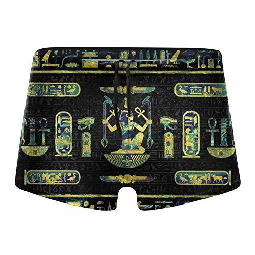 Bañador para hombre, diseño de jeroglíficos egipcios, color dorado y azul