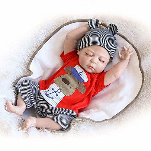 Nicery Reborn Baby Doll Renacer Bebé la Muñeca Simulación de Vinilo Duro de Silicona 22 Pulgadas 55cm Boca Natural Niña Niño Impermeable Bañarse Juguete vívido Girl Toy RD56Z013BC
