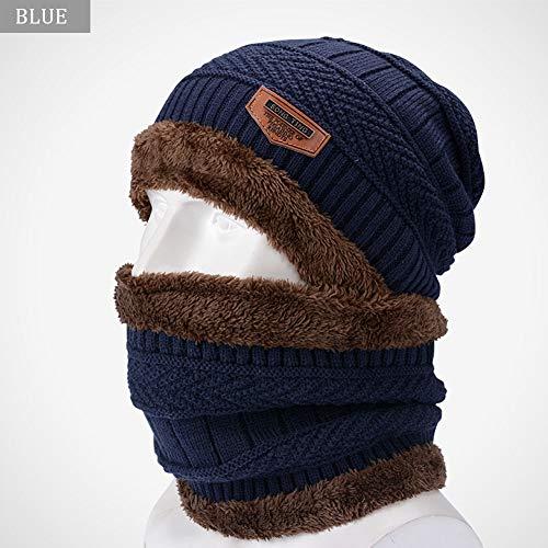 LWGY Gebreide Hoed en Cirkel Sjaal Warm, Outdoor Winter Wielrennen, Koud Warm Katoen Cap, Effen Kleur Dikke Warm, Unisex Blauw