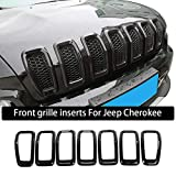 JeCar Front Grill Inserts Grille Cover Frame Trims for 2014-2018 Jeep Cherokee (Black)