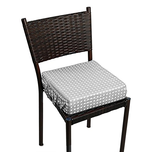 Zicac Sitzerhöhung Sterne Muster Tragbare Sitzerhöhung mit Seitentasche für Kinder Seat Pad (Grau)