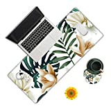 Desk Pad, Flower Floral Palm Leaf Long Large Mouse Pad Mat for Girls Women, Desk Writing Mat Blotter Protector with Stitched Edges and Non Slip Base for Office Home (with Coaster & Sunflower Sticker)