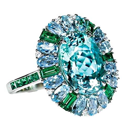 LovePlz Frauen Faux Smaragd Aquamarin Blumenring Hochzeitsfeier Schmuck Geschenk Mode Stilvolle Band Für Cocktail Shopping Arbeiten US 7