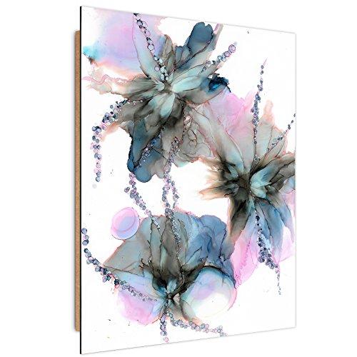 Feeby - Tableau Panneau Decoration Murale - Bloomnjazz - Abstraction des Couleurs - Deco Panel - Taille: 50x70 cm - Bleu Marine Rose Blanc