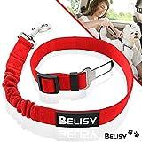 BELISY Correa Perro Coche en Nylon Elástico Ajustable – Cinturon Perro/Gato Coche – Correa Ajustable (60-80cm) para la Máxima Comodidad – Perros Grandes y Pequeños - Rojo